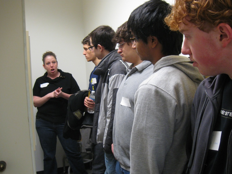 Psychology graduate student giving a lab tour
